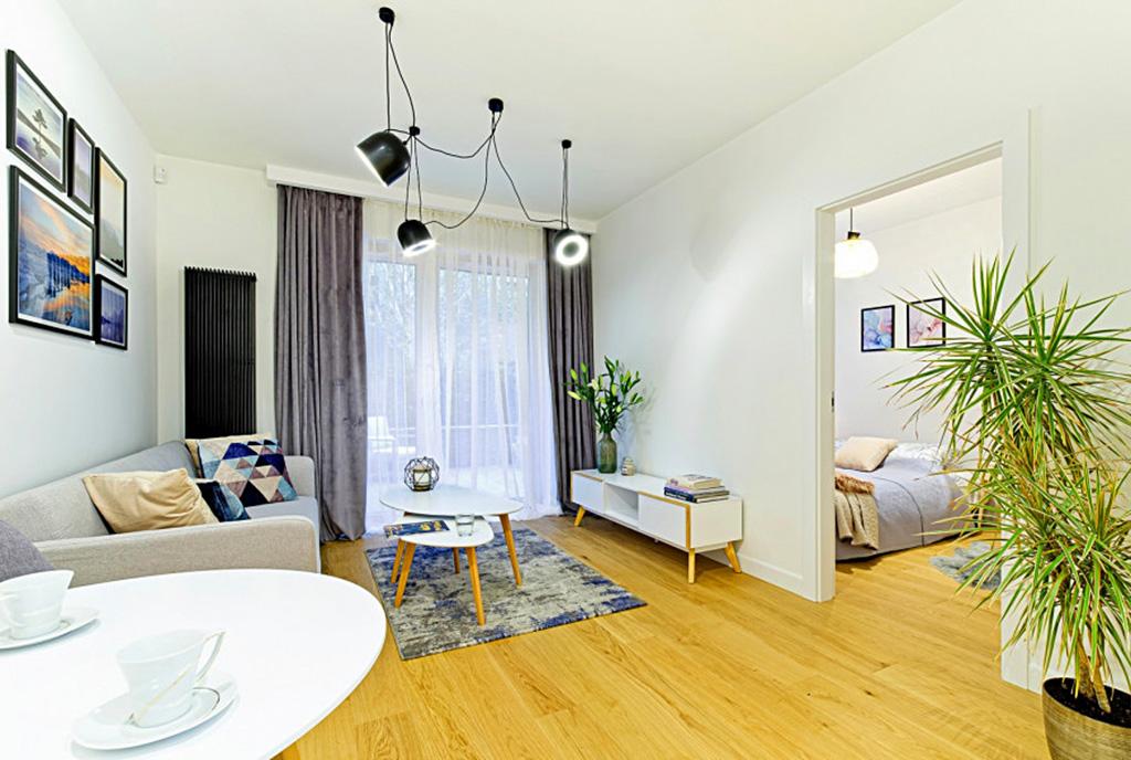 nowoczesny projekt salonu w ekskluzywnym apartamencie do sprzedaży Gdańsk