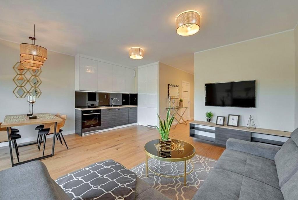nowoczesny salon w ekskluzywnym apartamencie do sprzedaży Pruszcz Gdański