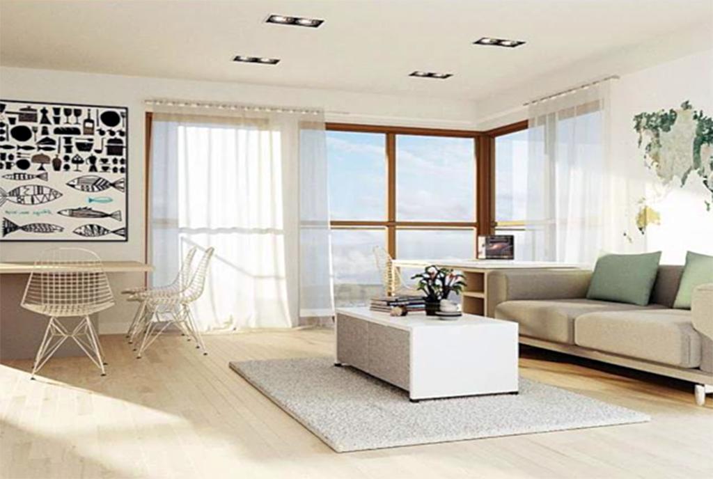 jasny i widny pokój dzienny w ekskluzywnym apartamencie do sprzedaży Szczecin