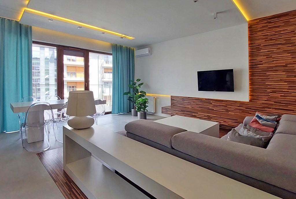 prestiżowe wnętrze salonu w ekskluzywnym apartamencie do wynajęcia Piotrków Trybunalski