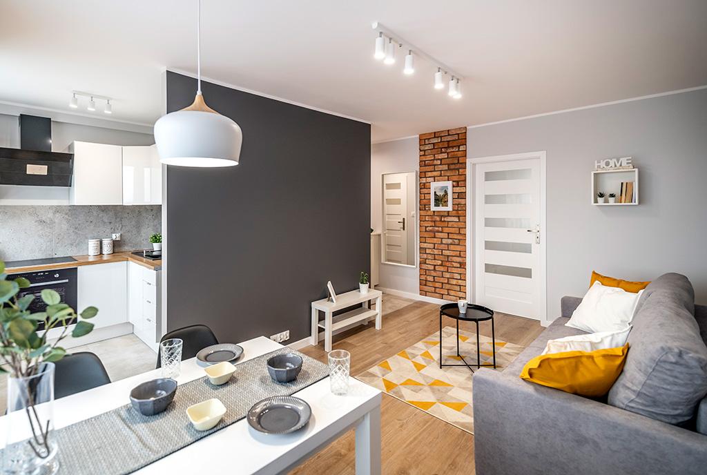 zaaranżowane w nowoczesnym stylu wnętrze ekskluzywnego apartamentu do sprzedaży Kalisz