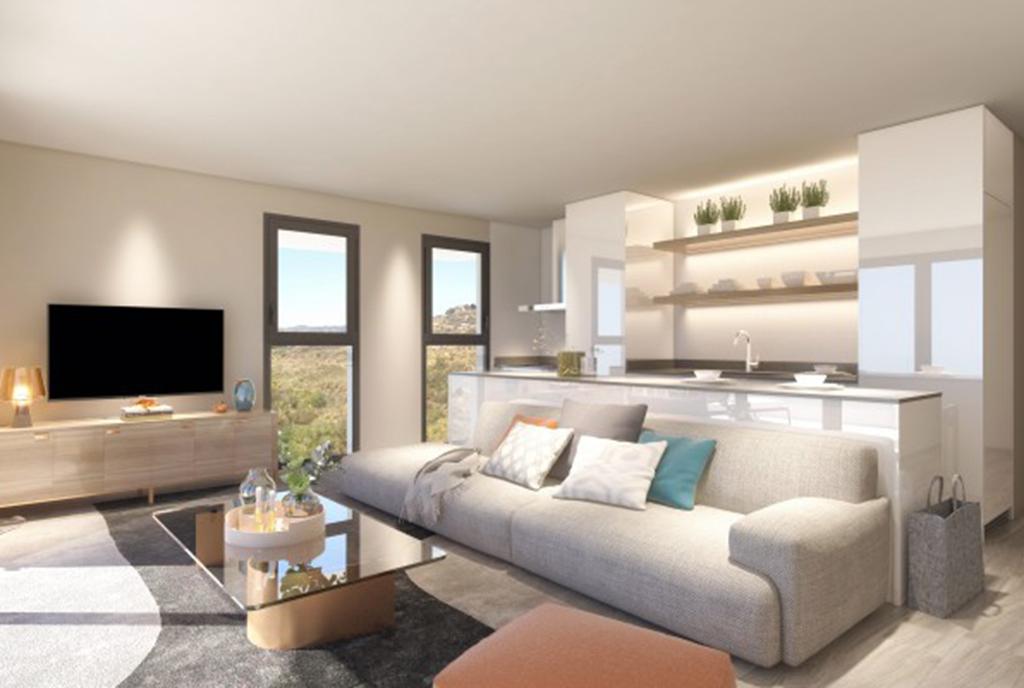 elitarne wnętrze salonu w luksusowym apartamencie na sprzedaż Hiszpania (Fuengirola, Costa del Sol)