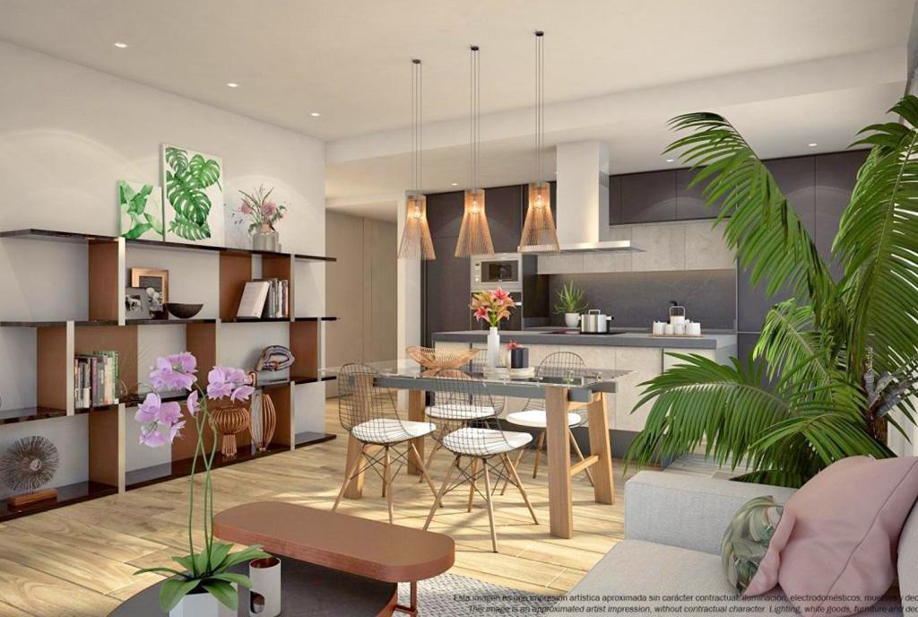 na pierwszym planie jadalnia, w oddali salon w luksusowym apartamencie na sprzedaż Hiszpania (Costa Blanca)