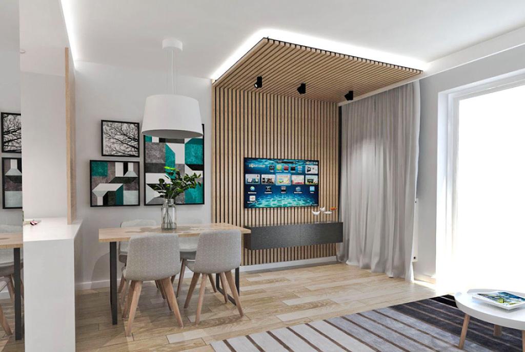 zaprojektowane w nowoczesnym stylu wnętrze luksusowego apartamentu na sprzedaż Ostrów Wielkopolski