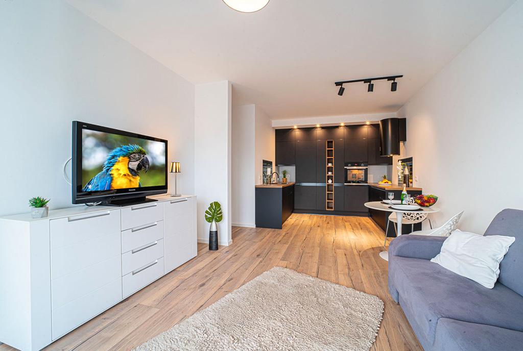 widok z salonu na aneks kuchenny w luksusowym apartamencie do wynajęcia Bolesławiec