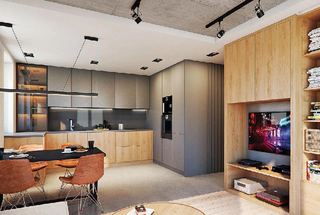 zaprojektowane zgodnie z najnowszymi trendami wnętrze ekskluzywnego apartamentu do sprzedaży Legnica (okolice)