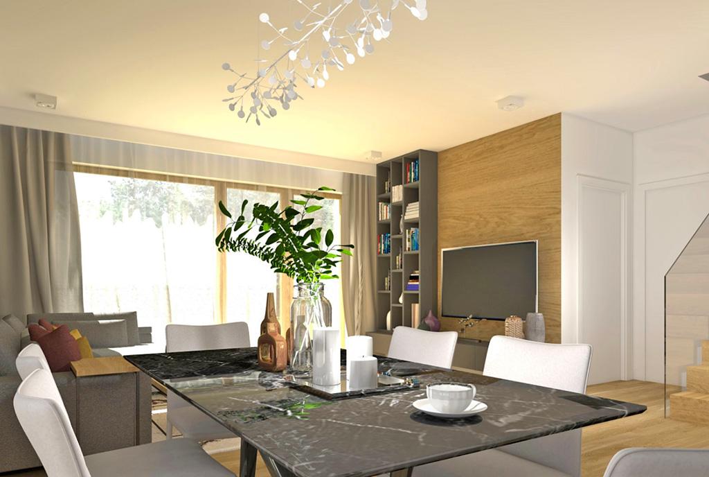 wizualizacja prezentująca komfortowe wnętrze salonu w luksusowej willi na sprzedaż Szczecin