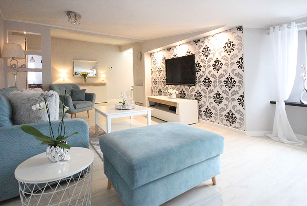 komfortowy salon w ekskluzywnym apartamencie na sprzedaż Szczecin