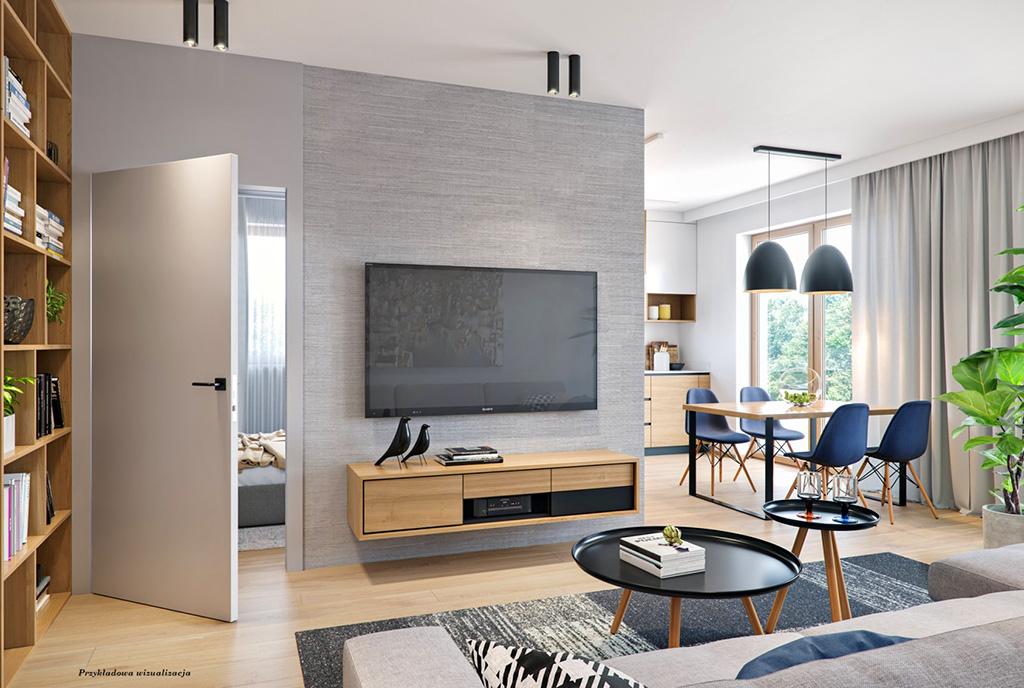 stylowo wykończony pokój dzienny w ekskluzywnym apartamencie na sprzedaż Wieluń