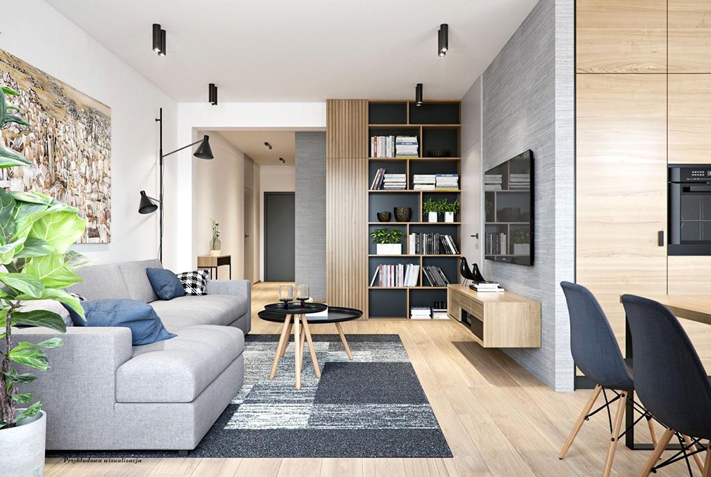 urządzony zgodnie z najnowszymi trendami pokój dzienny w luksusowym apartamencie do sprzedaży Wieluń