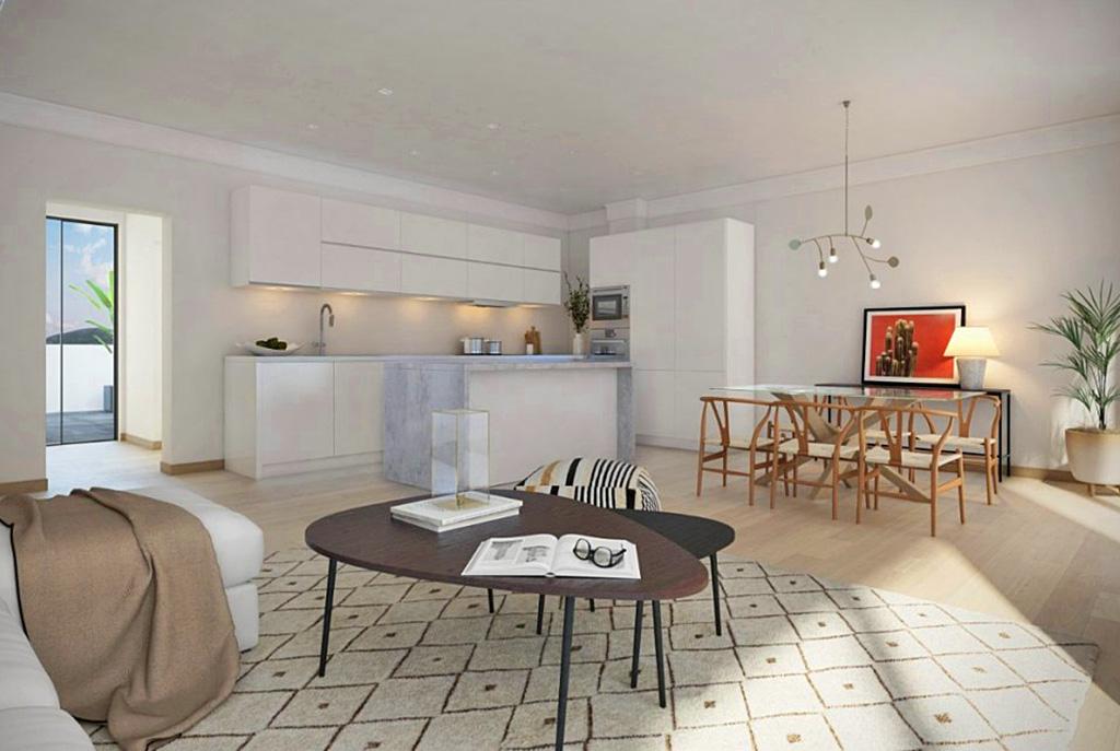 rzut na jadalnię i aneks kuchenny w luksusowym apartamencie do sprzedaży Hiszpania