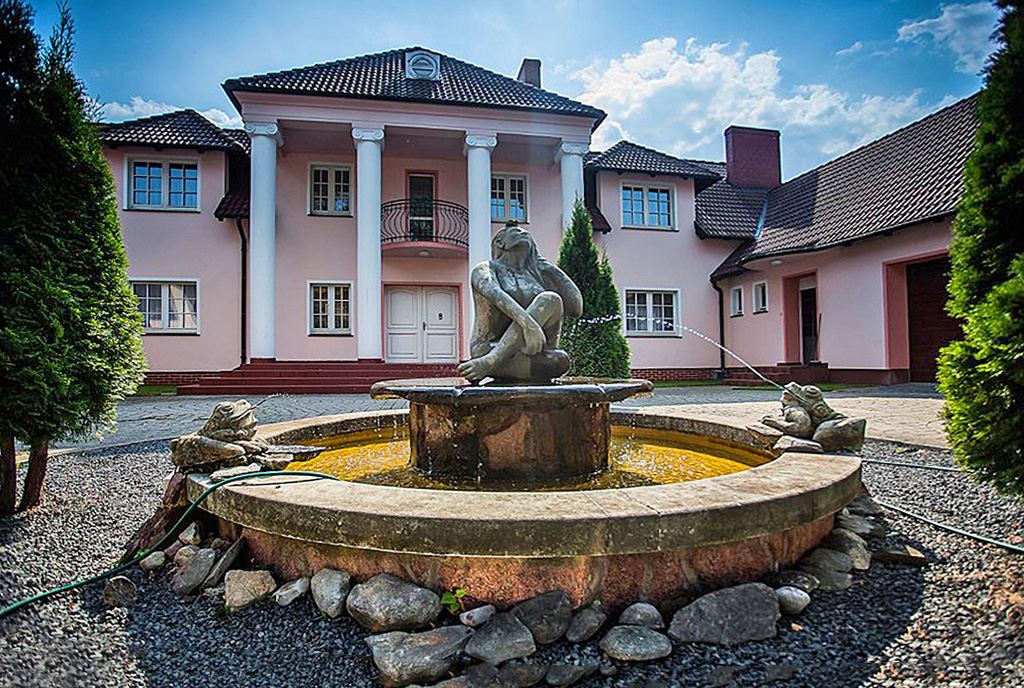 przepiękna fontanna przed wejściem do luksusowego dworu na sprzedaż Wielkopolska