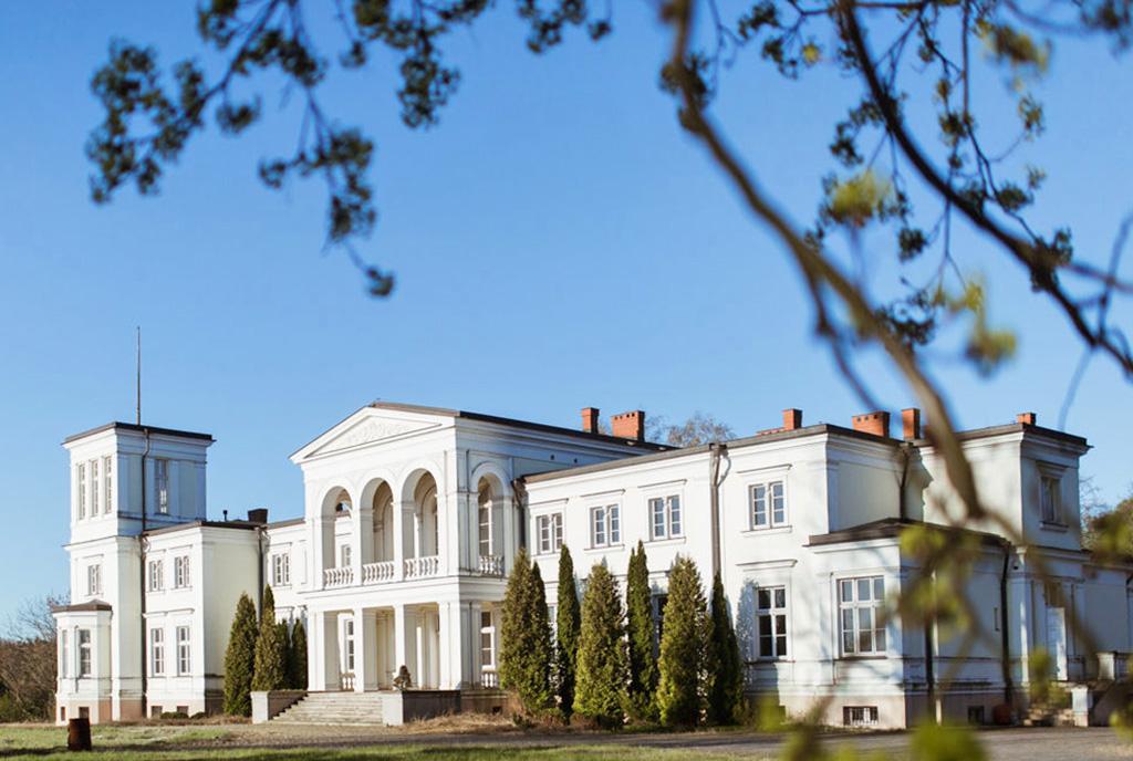 zapierające dech w piersiach rozmachem wejście z kolumnami do ekskluzywnego pałacu do sprzedaży Wielkopolska