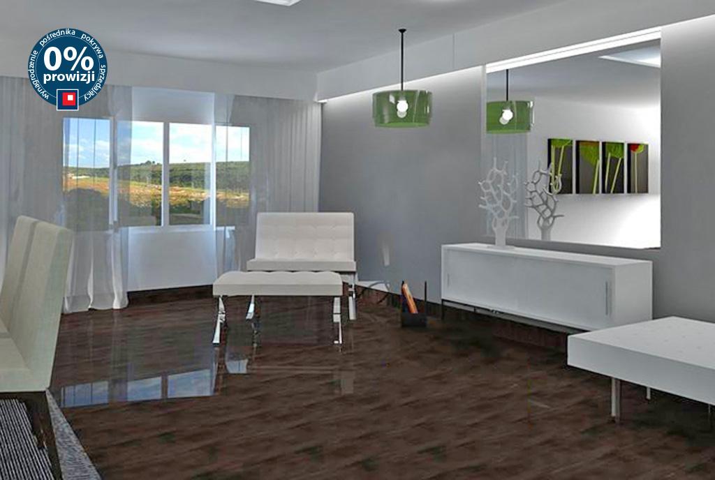 zaprojektowany w nowoczesnym designie salon w luksusowym apartamencie na sprzedaż Ustroń