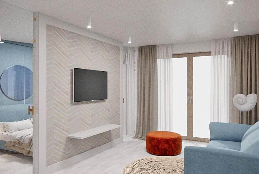 na wizualizacji pokój dzienny w luksusowym apartamencie do sprzedaży nad morzem