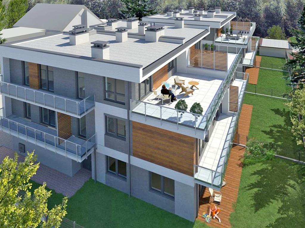 rzut z góry na osiedle, gdzie mieści się oferowany do sprzedaży ekskluzywny apartament Łódź