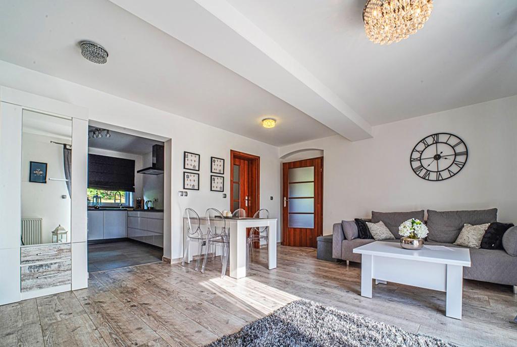 stylowy pokój dzienny w ekskluzywnym apartamencie do wynajęcia Bolesławiec (okolice)