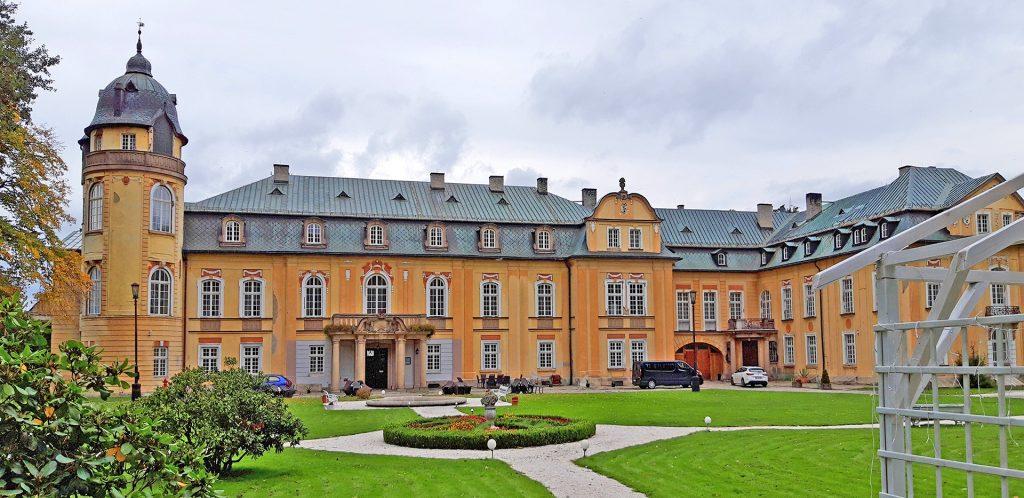 widok na reprezentacyjne wejście do pałacu na sprzedaż w Żalaźnie