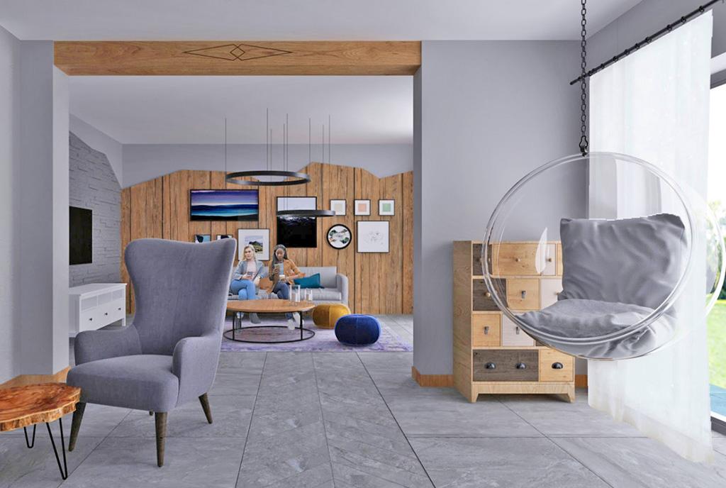 nowoczesny pokój dzienny w ekskluzywnym apartamencie do sprzedaży Szczyrk