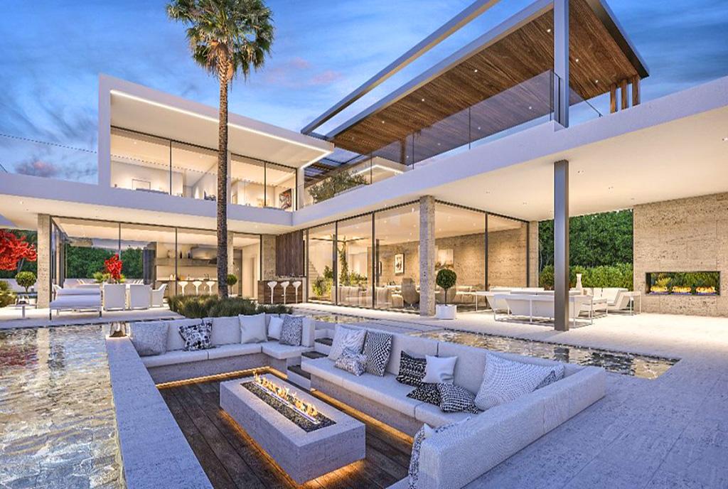 zdjęcie wykonane po zmierzchu pokazujące luksusową willę do sprzedaży w Hiszpanii (Costa del Sol, Malaga)